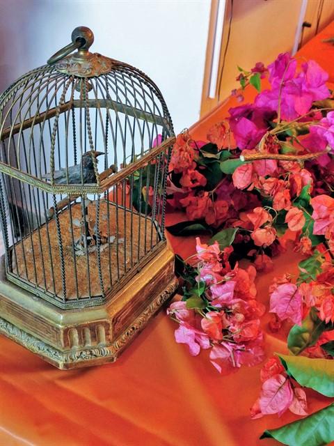 כלוב עם ציפור מתכת